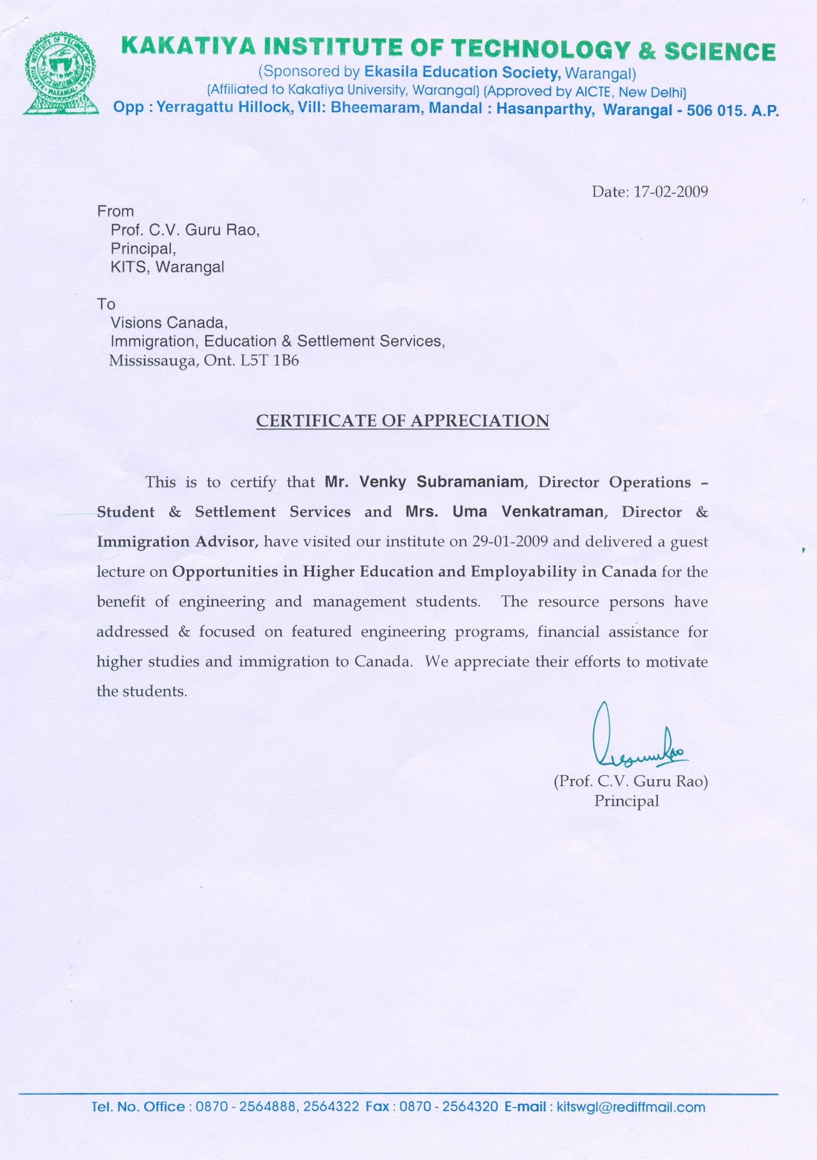 Appreciation letter from Mount Carmel School for DELF Junior